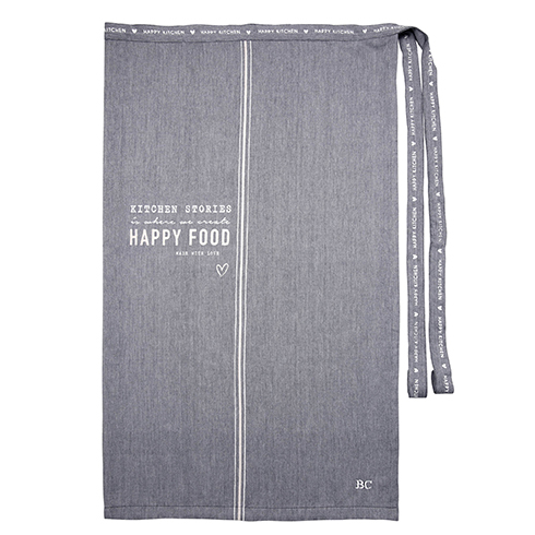 NEW Apron Black-Happy Food in White