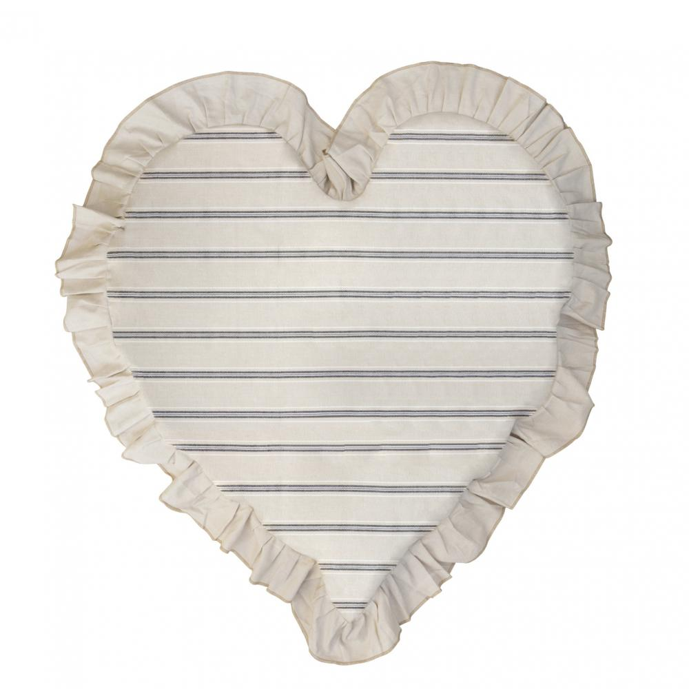 Heart Cushion 83x75 Naturel Stripe Chambray