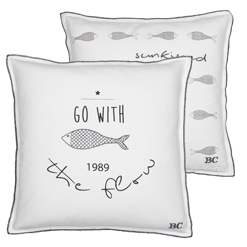 Cushion 50x50 White /go with the flow in dark grey