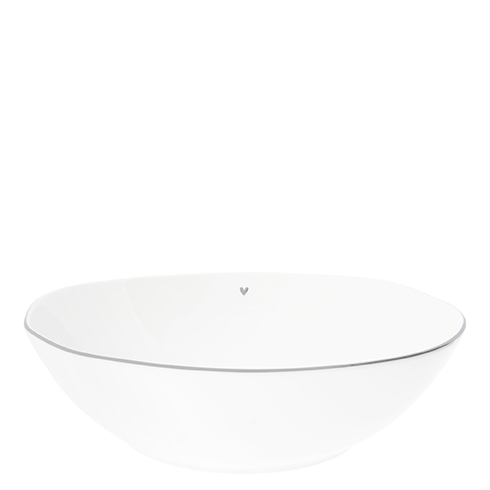 Bowl Salad white w.heart in Grey 15.5X27x3cm