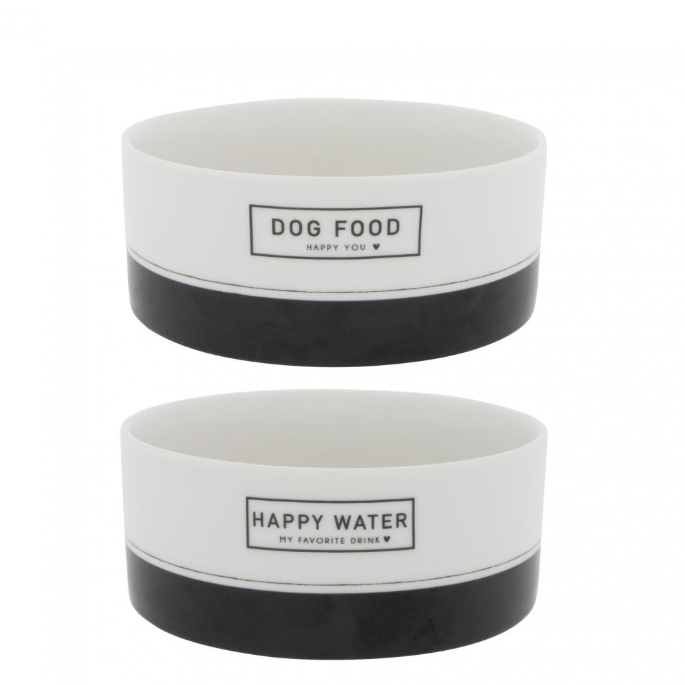 Bowl White DOG Food/Water in Bl16x6.5 cm Ass 2x6