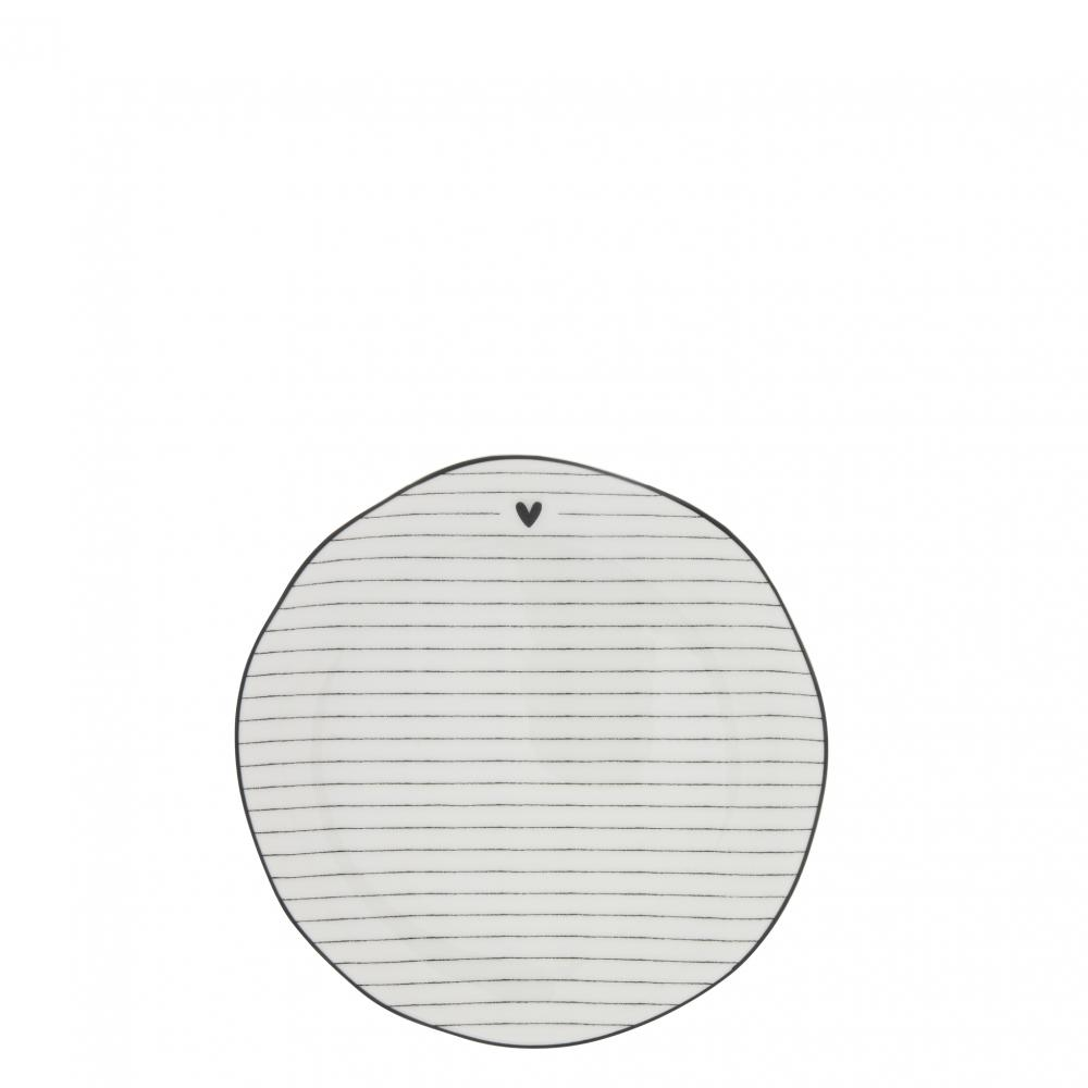 Dessert Plate Stripes White/edge black 19 cm