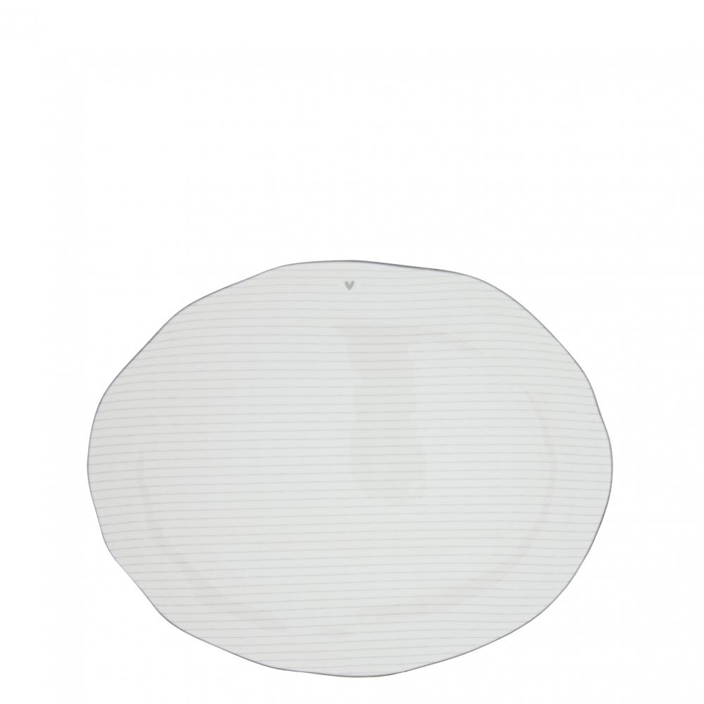 Servingplate White/edge Grey 37X30  cm