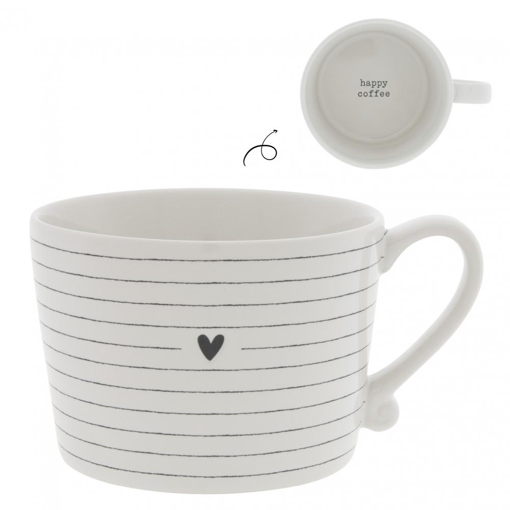 Cup White / Stripes & Heart in Black 10
