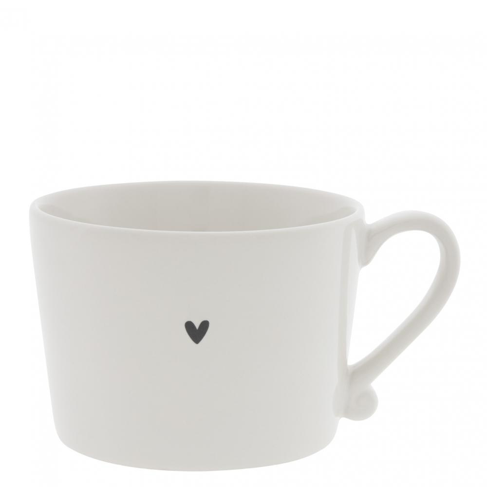 Cup White / little Heart in Black 10x8x7cm