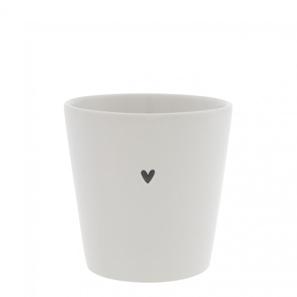 Cup White / Heart in Black 9x9x7.5cm