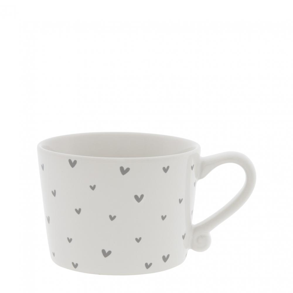 Cup White sm / little Hearts in Grey 8.5x7x6cm