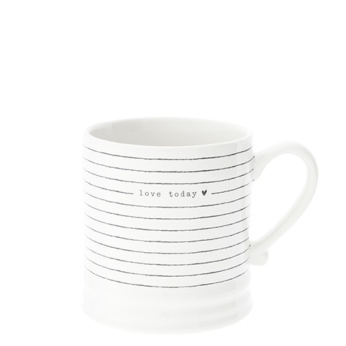 Mug White/Stripes & love today in Black 8x7 cm