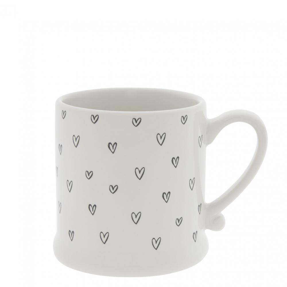 Mug White/Hearts overall in Black  8x7cm