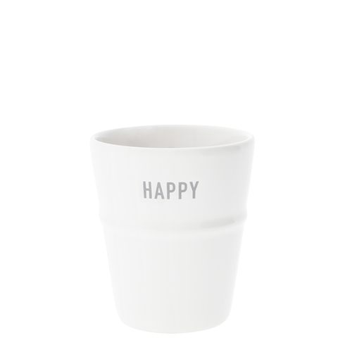 Mug White/Happy in Grey 6x8x9cm