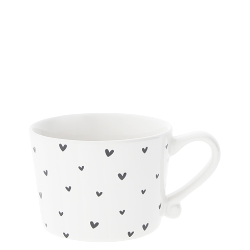 Mug Small White/little hearts in black