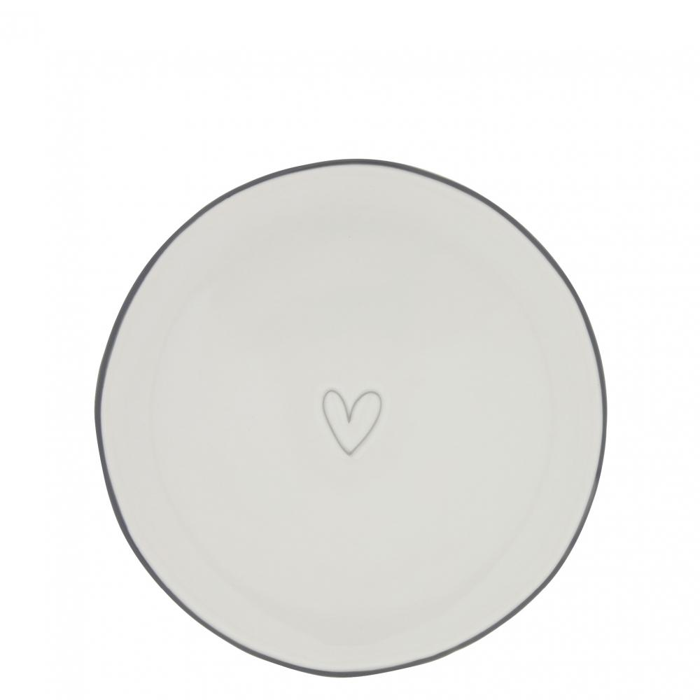 Dessert Plate 19cm Heart in Grey