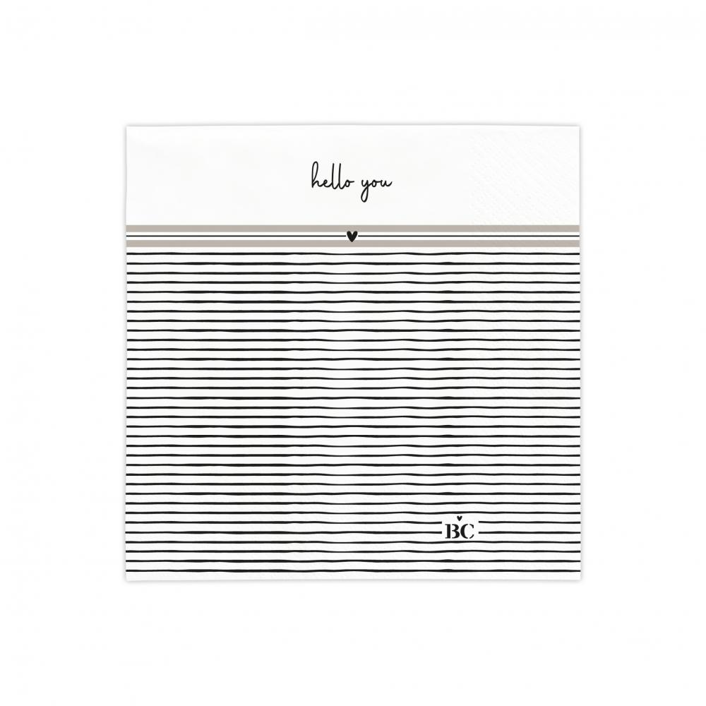 Napkin White/Stripes Hello You  20 pcs 12,5x12,5cm