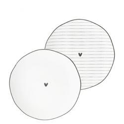 NEW Side Plate Ass(2x12)white/edge & heart black 13cm cena za ks /set 2 ks/