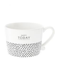 Cup White Happy Today & dots in Black10x8x7cm