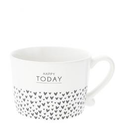 Cup White Happy Today & hearts in Black10x8x7cm