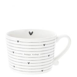 Cup White Hearts/ happy today in black 10x7cm